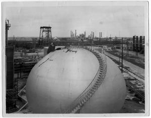 Primary view of object titled '[Aerial view of refinery structures after the 1947 Texas City disaster]'.