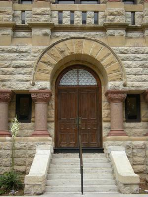 Primary view of object titled '1896 Denton County Courthouse Entrance Detail'.