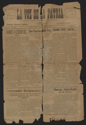 La Voz De La Patria (Piedras Negras, Mexico), Vol. 2, No. 16, Ed. 1 Monday, September 27, 1915