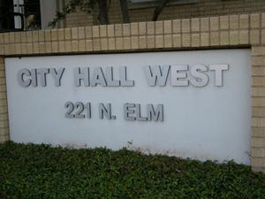 Primary view of object titled '[Sign at City Hall West]'.