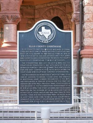 Primary view of object titled '1895 Ellis County Courthouse Texas Historical Commission Marker'.