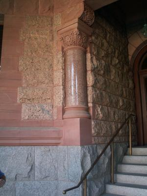 Primary view of object titled '[Column on Exterior of a Courthouse]'.