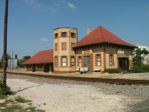 Primary view of object titled '[Railroad Depot]'.