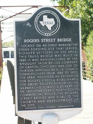 Primary view of object titled '[Plaque at Rogers Street Bridge]'.