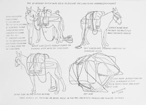 Primary view of object titled 'Four stages of packing an army mule. Picture'.