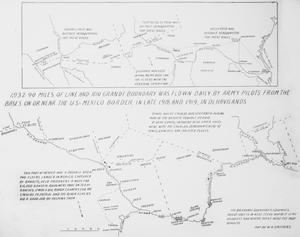 Primary view of object titled 'U. S. Cavalry detachments and bases of army pilots on or near the U.S.-Mexico border, 1918-1919. Map'.