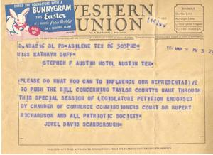 Primary view of object titled '[Telegram from Jewel Davis Scarborough, March 26, 1954]'.