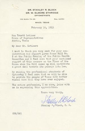 Primary view of object titled '[Letter from Stanley R. Block to Truett Latimer, February 16, 1953]'.