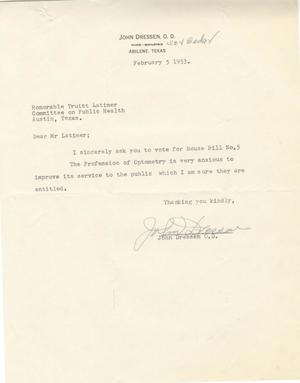 Primary view of object titled '[Letter from John Dressen to Truett Latimer, February 5, 1953]'.