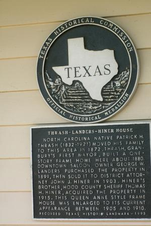 Primary view of object titled '[Plaque on Thrash-Landers-Hiner House]'.