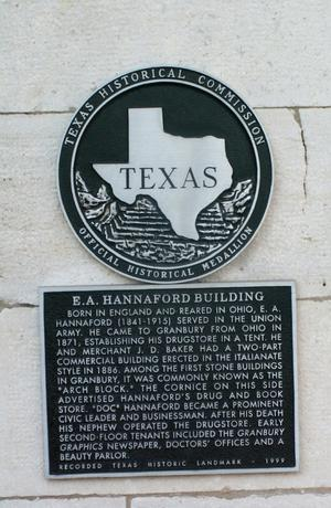 Primary view of object titled '[Plaque at E. A. Hannaford Building]'.