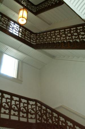 Primary view of object titled '[Looking Up at Staircases]'.