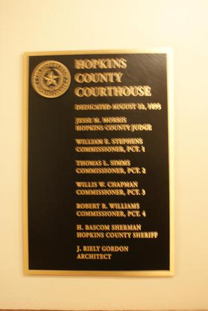 Primary view of object titled '[Plaque in Hopkins County Courthouse]'.