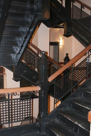 Primary view of object titled '[Four Black Staircases]'.