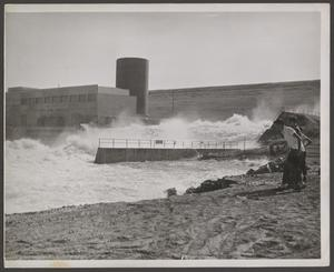 Primary view of object titled '[Southwest View of Open Flood Gates]'.
