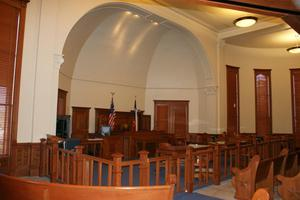 Primary view of object titled '[Interior of Courtroom]'.