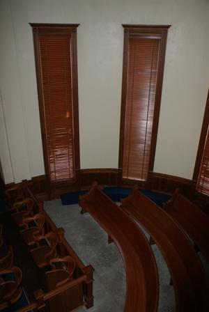Primary view of object titled '[Benches and Chairs in Courtroom]'.