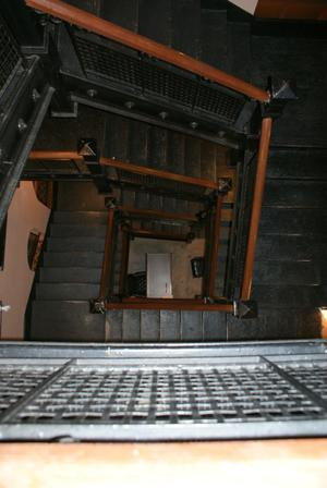 Primary view of object titled '[Looking Down at Stairs]'.