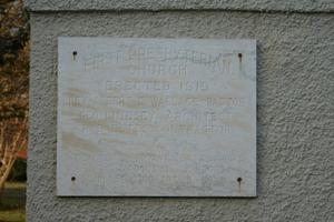 Primary view of object titled '[First Presbyterian Church Plaque]'.