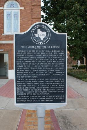 Primary view of object titled '[Plaque at First United Methodist Church]'.
