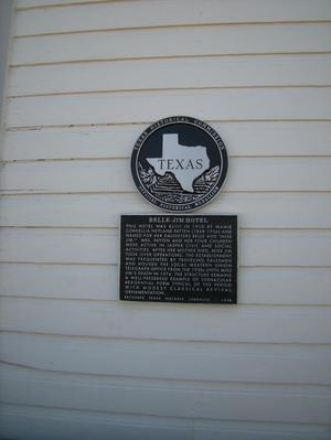 Primary view of object titled '[Plaque on Belle-Jim Hotel]'.
