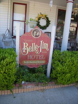 Primary view of object titled '[Sign at Belle-Jim Hotel]'.