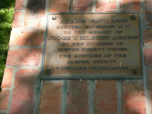 Primary view of object titled '[Plaque at Adams Pavilion]'.