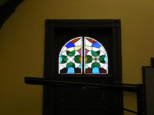 Primary view of object titled '[Stained Glass Window and Blinds]'.