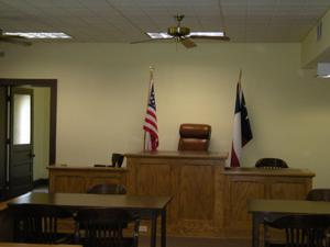 Primary view of object titled '[Judge's Bench in Courtroom]'.