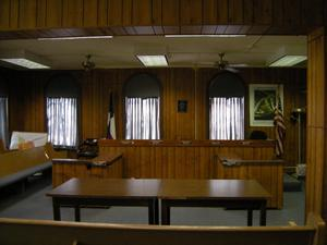 Primary view of object titled '[Tables in Courtroom]'.
