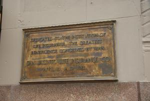 Primary view of object titled '[San Jacinto Life Insurance Plaque]'.