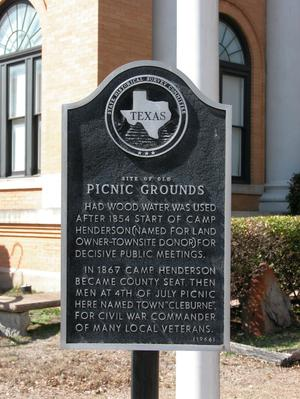 Primary view of object titled 'Historic Plaque, Site of Old Picnic Grounds'.