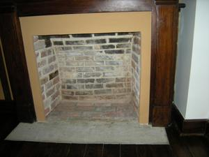 Primary view of object titled '[Close-Up of Fireplace]'.