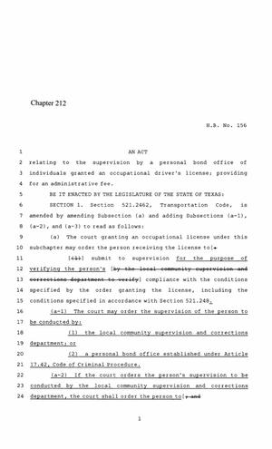 Primary view of 86th Texas Legislature, Regular Session, House Bill 156, Chapter 212