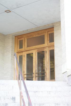 Primary view of object titled '[Wooden Doors to Courthouse]'.