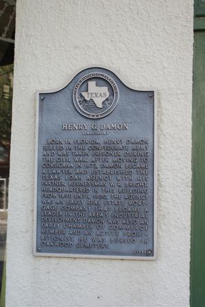 Primary view of object titled '[Plaque About Henry G. Damon]'.