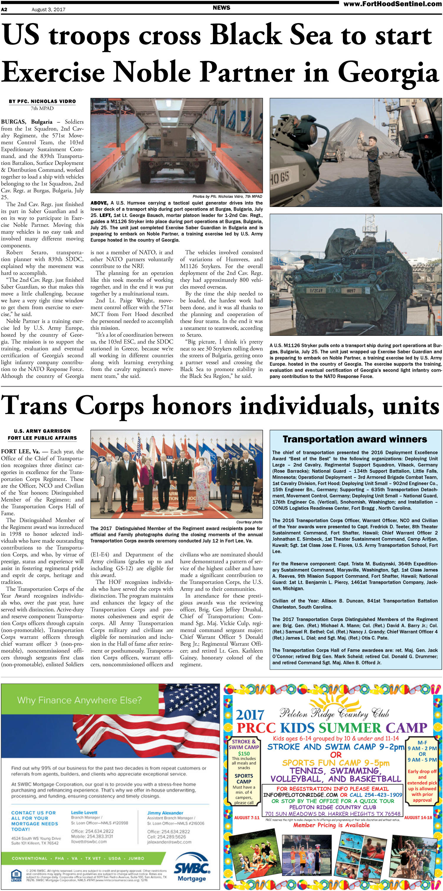 Fort Hood Sentinel (Fort Hood, Tex.), Vol. 75, No. 31, Ed. 1 Thursday, August 3, 2017                                                                                                      [Sequence #]: 2 of 24