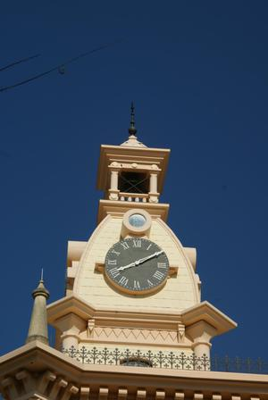 Primary view of object titled '[Close-Up of Clock Tower]'.