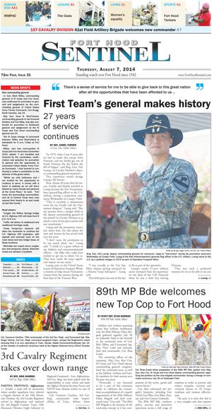 Fort Hood Sentinel (Fort Hood, Tex.), Vol. 72, No. 31, Ed. 1 Thursday, August 7, 2014