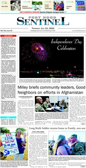 Fort Hood Sentinel (Fort Hood, Tex.), Vol. 71, No. 27, Ed. 1 Thursday, July 11, 2013