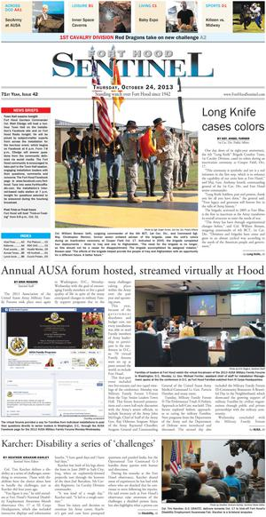 Fort Hood Sentinel (Fort Hood, Tex.), Vol. 71, No. 42, Ed. 1 Thursday, October 24, 2013