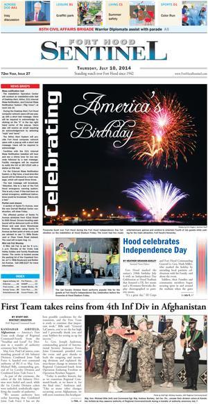 Fort Hood Sentinel (Fort Hood, Tex.), Vol. 72, No. 27, Ed. 1 Thursday, July 10, 2014