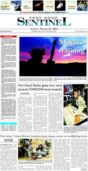 Fort Hood Sentinel (Fort Hood, Tex.), Vol. 71, No. 7, Ed. 1 Thursday, February 21, 2013