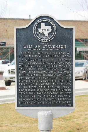 Primary view of object titled '[Plaque About Rev. William Stevenson]'.