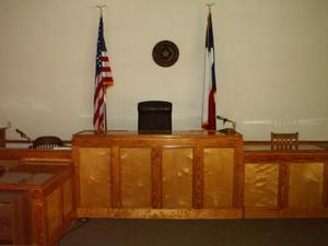 Primary view of object titled '[Photograph of a Judge's Bench]'.