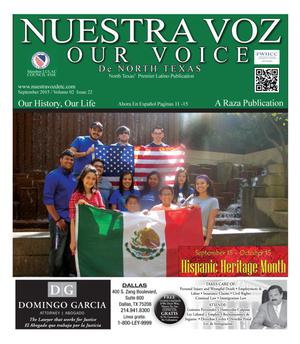 Primary view of object titled 'Nuestra Voz De North Texas (Fort Worth, Tex.), Vol. 2, No. 22, Ed. 1, September 2015'.