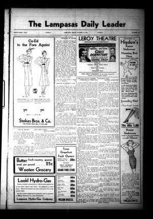 Primary view of The Lampasas Daily Leader (Lampasas, Tex.), Vol. 33, No. 189, Ed. 1 Tuesday, October 13, 1936