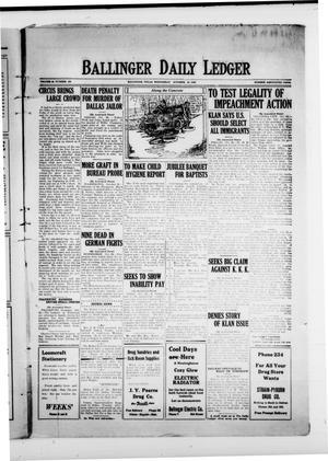 Ballinger Daily Ledger (Ballinger, Tex.), Vol. 18, No. 168, Ed. 1 Wednesday, October 24, 1923