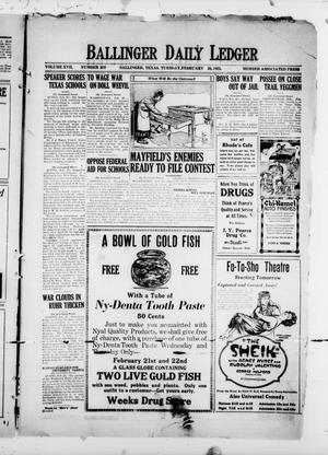 Ballinger Daily Ledger (Ballinger, Tex.), Vol. 17, No. 269, Ed. 1 Tuesday, February 20, 1923