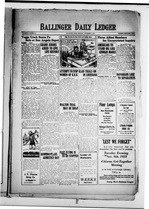Ballinger Daily Ledger (Ballinger, Tex.), Vol. 18, No. 178, Ed. 1 Monday, November 5, 1923